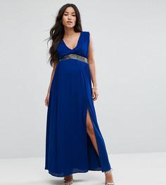Платье макси с отделкой на талии ASOS Maternity - Синий
