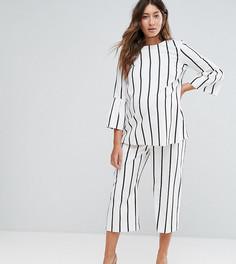 Широкие комбинируемые брюки в полоску ASOS Maternity - Белый
