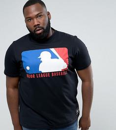 Черная футболка с логотипом-щитом Majestic PLUS MLB - Черный