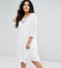 Платье с длинными рукавами и многослойной юбкой Diya - Белый