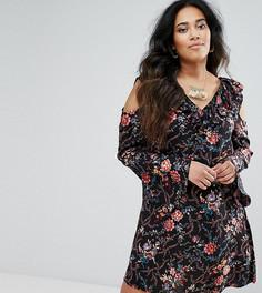 Платье с цветочным принтом и вырезами на плечах Diya - Черный