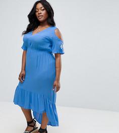 Платье макси с вышивкой на рукавах Diya - Синий