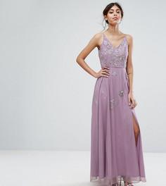 Платье макси с отделкой в виде звездочек и разрезом Frock and Frill - Серый