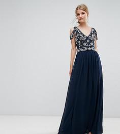Декорированное платье макси с вырезами на плечах Frock and Frill - Темно-синий