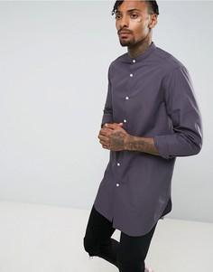 Серая длинная футболка классического кроя с воротником на пуговицах ASOS - Серый