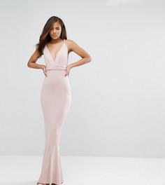 Платье макси с глубоким вырезом и плетеными бретелями ASOS TALL - Розовый