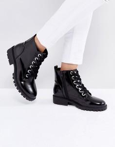 Ботинки на шнуровке с серебристыми люверсами London Rebel - Черный