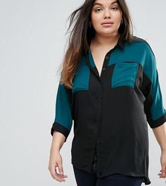 Рубашка с открытыми плечами и контрастной вставкой Lovedrobe - Мульти