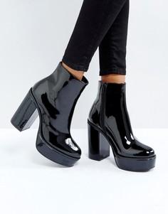 Лакированные ботинки на платформе London Rebel - Черный