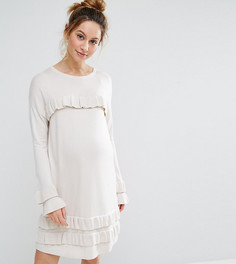 Платье с оборками и расклешенными рукавами ASOS MATERNITY - Светло-серый