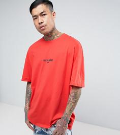 Красная оверсайз-футболка с логотипом Sixth June - Красный