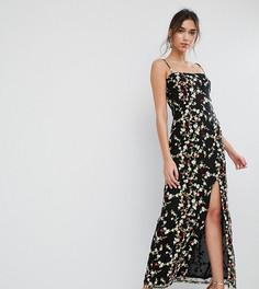 Платье макси с разрезом и вышивкой True Violet - Черный