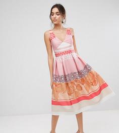 Платье миди для выпускного с принтом True Violet - Мульти