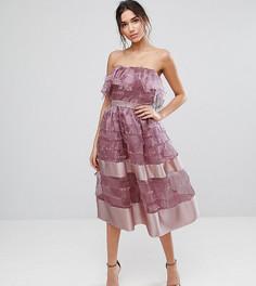 Фактурное платье миди с оборкой и отделкой по краю True Violet - Фиолетовый