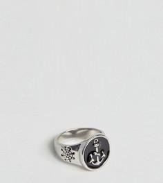 Серебристое кольцо-печатка с якорем DesignB эксклюзивно для ASOS - Серебряный