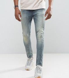 Темно-синие джинсы скинни с рваной отделкой ASOS TALL - Синий
