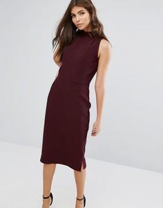 Платье-футляр с оборкой на воротнике Alter - Красный