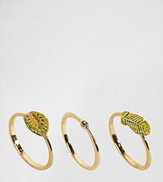 Набор позолоченных колец с тропическими листьями Bill Skinner - Золотой