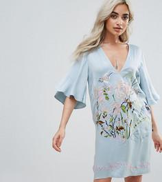 Платье с вышивкой ASOS PETITE - Синий
