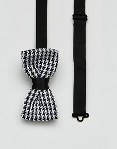 Трикотажный галстук-бабочка в ломаную клетку 7X - Черный