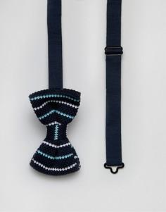 Трикотажный галстук-бабочка в полоску 7X - Темно-синий