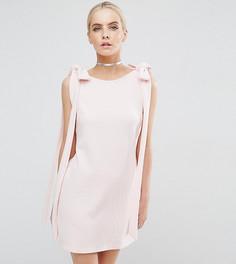Платье мини А-силуэта в рубчик ASOS PETITE - Розовый