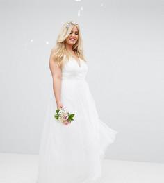 Платье для выпускного макси из тюля ASOS CURVE BRIDAL - Белый