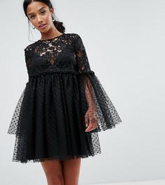 Свободное кружевное платье мини ASOS PETITE - Черный