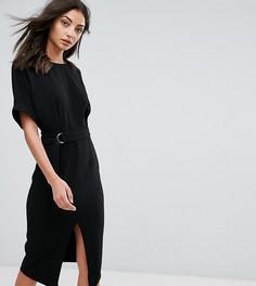 Тканое платье миди с D-образным кольцом ASOS TALL - Черный