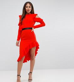 Платье из крепа с открытыми плечами и асимметричным краем ASOS TALL - Красный