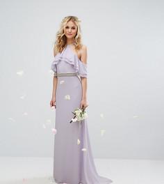 Платье макси с оборками, декорированной талией и шлейфом TFNC WEDDING - Фиолетовый