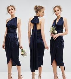 Платье-трансформер миди с запахом TFNC WEDDING - Темно-синий