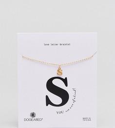 Позолоченный браслет с буквой S Dogeared Love Letter - Золотой