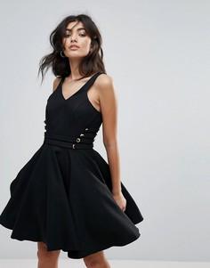 Короткое приталенное платье для выпускного с V-образным вырезом Forever Unique - Черный