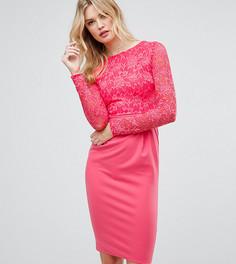 Кружевное платье-футляр миди с длинными рукавами City Goddess Tall - Розовый
