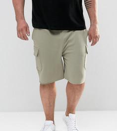 Зеленые трикотажные шорты скинни с карманами карго ASOS PLUS - Зеленый