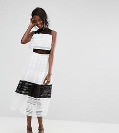 Платье миди с кружевным верхним слоем Boohoo - Мульти