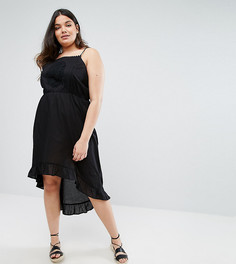 Платье с асимметричным краем Boohoo Plus - Черный