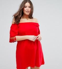 Сарафан с открытыми плечами и кисточками ASOS CURVE - Красный