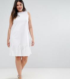 Свободное платье без рукавов с асимметричным краем ASOS CURVE - Белый