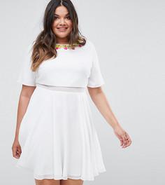 Короткое приталенное платье с 3D-отделкой ASOS CURVE - Белый