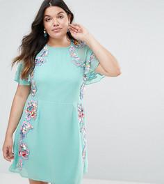 Короткое приталенное платье с цветочной отделкой и рукавами-бабочка ASOS CURVE - Синий
