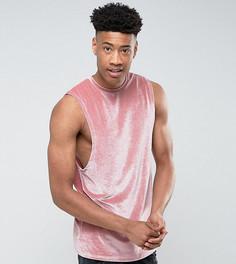 Розовая длинная велюровая футболка без рукавов с заниженными проймами ASOS TALL - Розовый