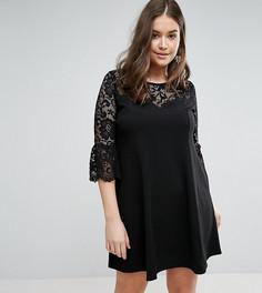 Короткое приталенное платье с кружевными рукавами Praslin - Черный