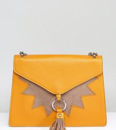 Эксклюзивная сумка горчичного цвета на плечо с клапаном и кисточками Skinnydip - Желтый