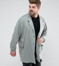 Зеленое свободное супердлинное пальто из трикотажа ASOS PLUS - Зеленый