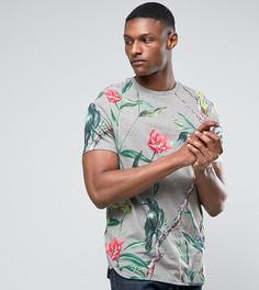 Длинная футболка с цветочным принтом и закругленным краем ASOS TALL - Серый