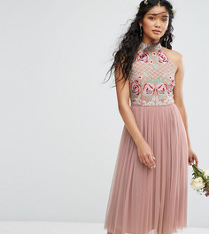 Тюлевое платье миди с высоким воротом и вышивкой Maya - Коричневый