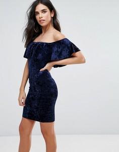 Бархатное платье миди с оборкой Love & Other Things - Темно-синий