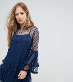 Сетчатое свободное платье в горошек с высоким воротом Lace & Bead - Темно-синий